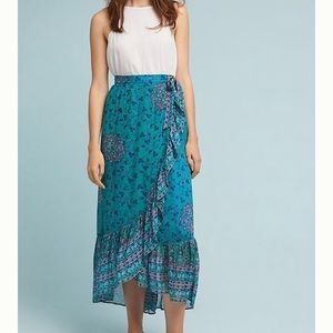 eee4255970 J crew necklace Anthropologie green / blue print maxi skirt ...